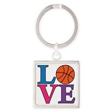 multi, Basketball LOVE Square Keychain