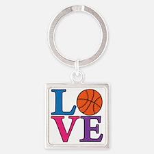multi, Basketball LOVE Square Keychain