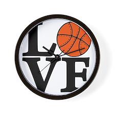 black, Basketball LOVE Wall Clock