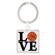 black, Basketball LOVE Square Keychain