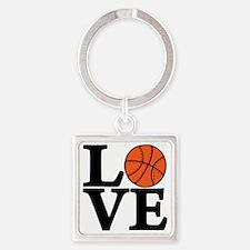 black, Basketball LOVE Square Keychain