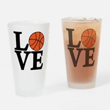 black, Basketball LOVE Drinking Glass