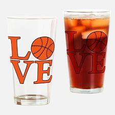 orange, Basketball LOVE Drinking Glass