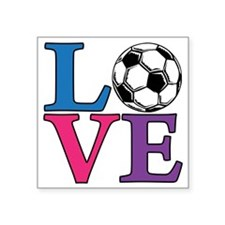 "Multi, Soccer LOVE Square Sticker 3"" x 3"""