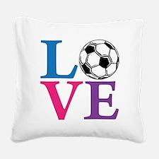 Multi2, Soccer LOVE Square Canvas Pillow
