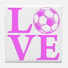pink2, Soccer LOVE Tile Coaster