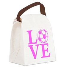 pink2, Soccer LOVE Canvas Lunch Bag