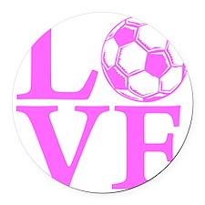 pink2, Soccer LOVE Round Car Magnet