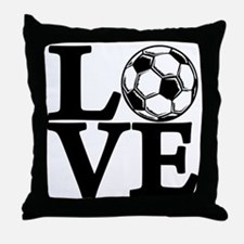 black, Soccer LOVE Throw Pillow
