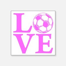 "pink2, Soccer LOVE Square Sticker 3"" x 3"""
