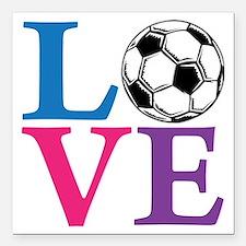 """Multi2, Soccer LOVE Square Car Magnet 3"""" x 3"""""""