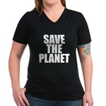 Save The Planet Women's V-Neck Dark T-Shirt