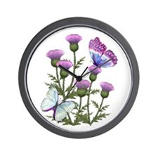 Thistles And Butterflies Wall Clock