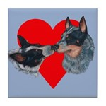 Australian Cattle Dog Kiss Tile Coaster