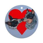 Australian Cattle Dog Kiss Ornament (Round)