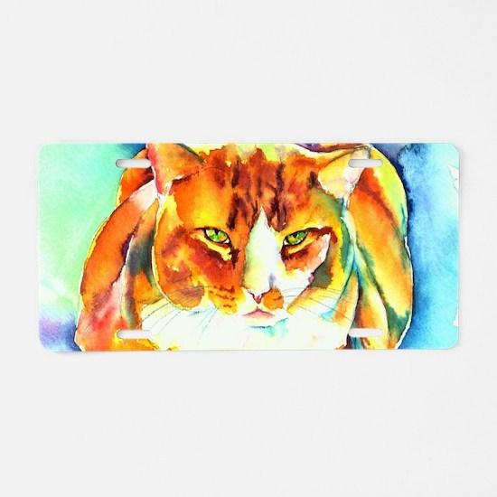 Orange Tiger Cat Aluminum License Plate