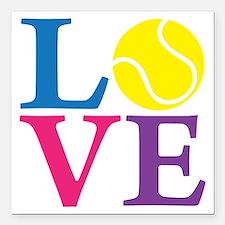 "multi2, Tennis LOVE Square Car Magnet 3"" x 3"""