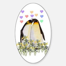 Penguin Love Oval Decal
