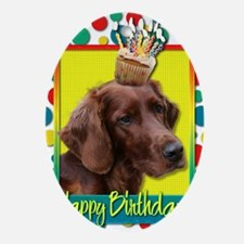 BirthdayCupcakeIrishSetter Oval Ornament