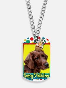 BirthdayCupcakeIrishSetter Dog Tags