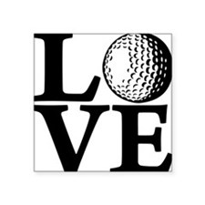 "black, Golf LOVE Square Sticker 3"" x 3"""