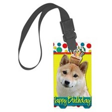 BirthdayCupcakeShibaInuBlonde Luggage Tag