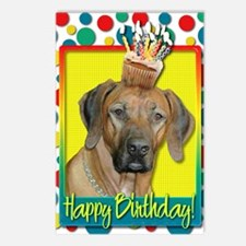 BirthdayCupcakeRhodesianR Postcards (Package of 8)