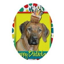 BirthdayCupcakeRhodesianRidgeback Oval Ornament