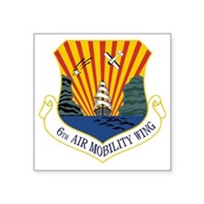 "6th Air Mobility Wing Square Sticker 3"" x 3"""