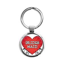 Tattoo Heart Bridesmaid Round Keychain