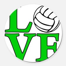 green, Volleyball LOVE Round Car Magnet