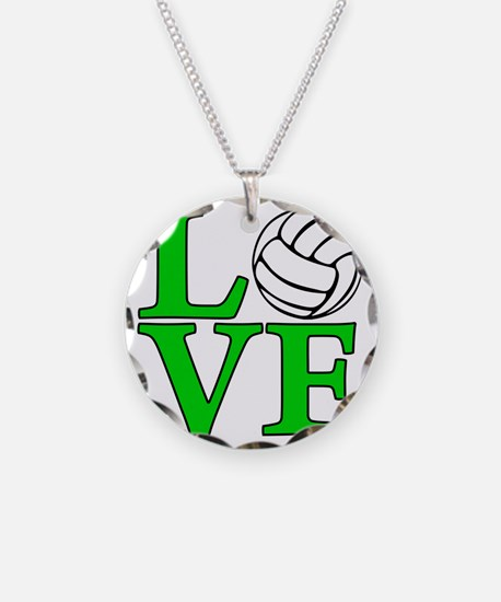 green, Volleyball LOVE Necklace