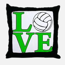 green, Volleyball LOVE Throw Pillow