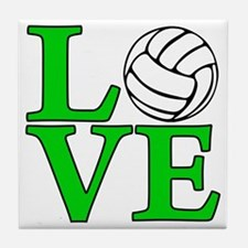 green, Volleyball LOVE Tile Coaster