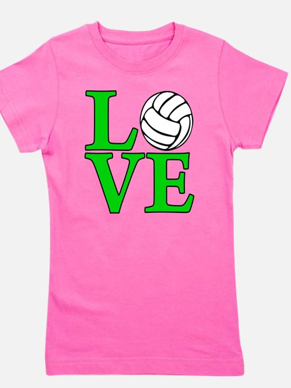 green, Volleyball LOVE Girl's Tee