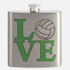 green, Volleyball LOVE Flask