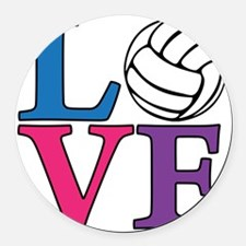 multi, Volleyball LOVE Round Car Magnet