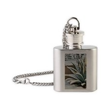 agave plant snow Flask Necklace