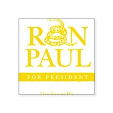 "Ron_Paul_Gadsden-gold Square Sticker 3"" x 3"""