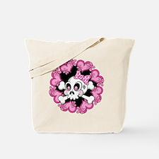 Cute Skull and Hearts.ai Tote Bag