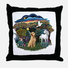 Woodland Magic - Yellow Lab 8 Throw Pillow