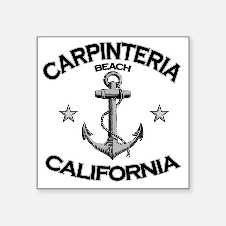 "CARPINTERIA BEACH CALIFORNI Square Sticker 3"" x 3"""