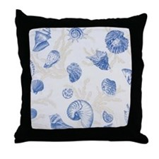 Sea Shell Design Blue Throw Pillow