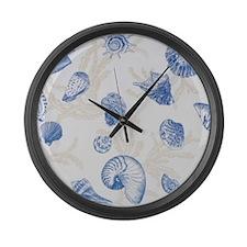 Sea Shell Design Blue Large Wall Clock