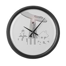 funny ufo vs mallet percussion mu Large Wall Clock