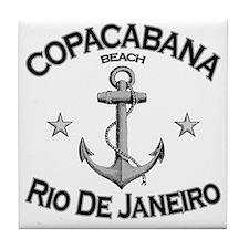 Copacabana beach rio de janeiro brazi Tile Coaster