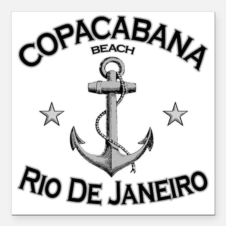 """Copacabana beach rio de  Square Car Magnet 3"""" x 3"""""""