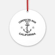 CORONA DEL MAR BEACH CALIFORNIA cop Round Ornament