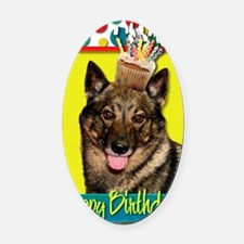 BirthdayCupcakeVallhund Oval Car Magnet