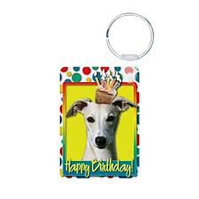BirthdayCupcakeWhippet Aluminum Photo Keychain